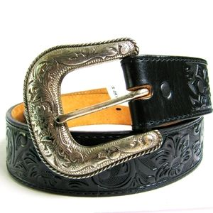 NWT JUSTIN Black Leather Embossed WESTERN Belt 32
